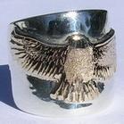 "Appliquéd Bird Feather Ring - RApF19 - Hawk in 14k yellow on 3/4"" wdie band silver"