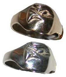 Cast Bird Feather Rings - RCas17 - Hawk head with sapphire eye ring