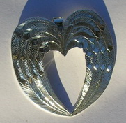 Bird-Feather Pendants - PenF18- Engraved feather in shape of heart