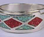 Wedding Rings - RSt6a – Hopi Butterfly with blue Turquoise and coral inlay