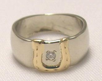 Appliquéd Gem Stone Rings - RApF17 - Horseshoe with .08ct Diamond