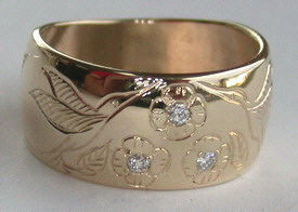 Gold Bird Feathers Stones Rings - RbfSt17 - Hummingbirds, flowers and diamonds
