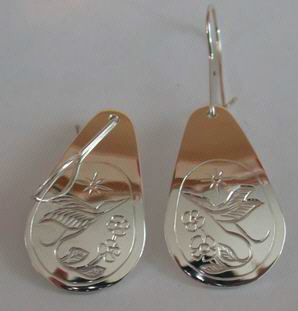 Tear Drop Earrings - ERn13 -Hummingbird and Flower Earrings