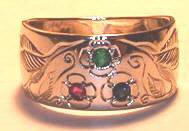 Gold Bird Feathers Stones Rings - RbfSt17 - Hummingbird and flowers n White Gold with 2.5mm Emerald,Ruby nd Sapphire