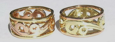 Non-Native Appliqued Rings - NNrAp12 - Maori Koru design, Rose, Green and Yelow golds