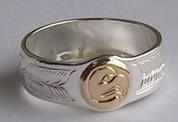 Appliquéd Bird Feather Ring - Rap29 - Kwakiutl Eagle commissioned for Calvin Hunt