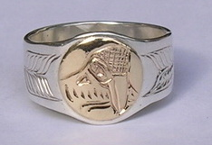 Appliquéd Bird Feather Ring - Rap29 - Kwakiutl Raven design by Adam Munn and Sun
