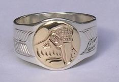 Appliquéd Bird Feather Ring - Rap29 - Kwakiutl Raven design by Adam Munn and Sun