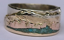 MnRcus33- La Sal Mountains Utah, with Yellow Mountains, Rose gold HooDoos on a White gold base and platinum Sun