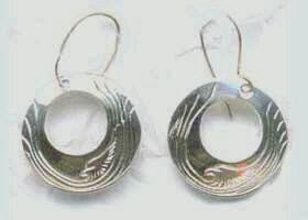 Silver Earrings - ERn7 - Hoop Earrings with deer horn or Medicine Wheel