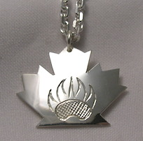 Silver Pendants - Pen23 - Maple Leaf and Grizzly, Bearclaw and Bear face.
