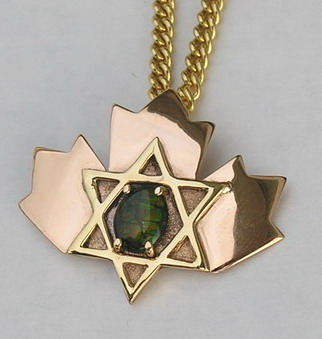 Maple Leaf Jewish Star Ammolite in gold