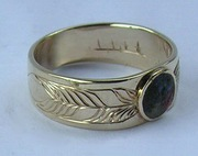 Inlay-Medicine Wheel Rings - MdrStCh16 - Gold on gold single feathers-Onyx, Mammoth tooth, Coral and lapis