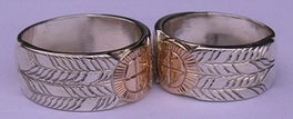 Appliqued Medicine Wheel Rings - MDrap9c - 14K Medicine wheel Disc and silver Feathers on silver base