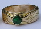 Wedding Rings - MdSt15f Medicine Wheel 5mm Emerald gold on gold