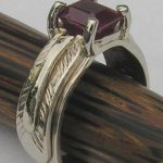 Wedding Rings - MdSt35a - 2ct Ruby ( 7mm X 5mm )- emerald cut in 14k white on white with white stem