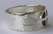Inlay-Medicine Wheel Rings - MdrStCh19 Medicine wheel with Buffalo and Mountains
