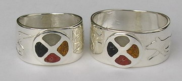 Inlay-Medicine Wheel Rings - MdrStCh14- Silver on silver with Medicine wheel, Butterfly, Hummingbird and Wolf