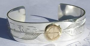 Medicine Wheel Bracelets - MdBA6 Medicine Wheel, Feathers and D.T.R.T. inscription