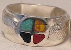 Wedding Rings - MdrStCh1 Silver on Silver with Turquoise , jasper, coral and onyx Chip inlay