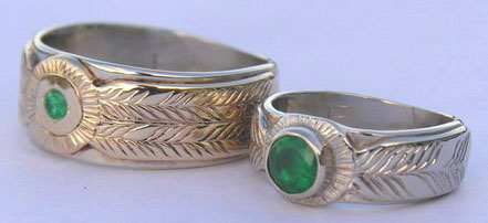 Wedding Rings - MdSt15a - Feather and Medicine Wheel with 5mm and 3mm Emerald yellow and white gold and Platinum