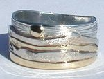 Wedding Rings - MnRMM1- Medicine Mountain - Yellow and white gold on silver