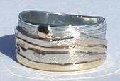 Multi Metal Mountain Rings - MnRMM1- Medicine Mountain - Yellow and white gold on silver