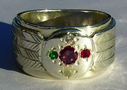 Gem Stones Medicine Wheel Rings - MdSt33 - Medicine Wheel with 4mm Ruby diamond citrine and emerald
