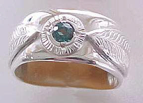 Gem Stones Medicine Wheel Rings - MdSt13 Silver on Silver with Emerald