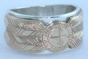 Appliqued Medicine Wheel Rings - MDrap9- 14K Medicine wheel Disc or Feathers on silver