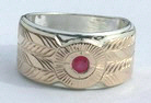Gem Stones Medicine Wheel Rings - MdSt4a gold on Silver and with a 3mm Ruby