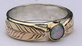 Gem Stones Medicine Wheel Rings - MdSt6a Gold on gold 2 feather with Opal-( thin band)