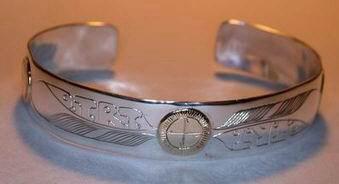 Medicine Wheel Bracelets - MdBA6 - Medicine Wheel, Feathers and D.T.R.T. inscription
