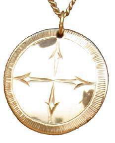 """Medicine Wheel Pendants -MdP3 - 1"""" disc and arrows in 14k gold or silver"""