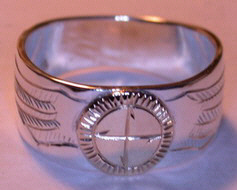 Appliqued Medicine Wheel Rings - MDrap16 Medicine Wheel- with engraved Eagle wings in place of feathers