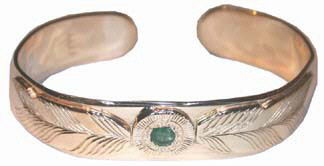 Medicine Wheel Bracelets - MdBStA1 - Appliquéd Feathers and emerald 14k gold on gold with 3mm emerald