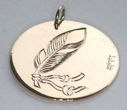 "Medicine Wheel Pendants -MdP3 - 1"" disc feather on back side of medicine wheel pendant"