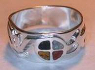Inlay-Medicine Wheel Rings - MdrStCh5a Thunderbird and Fox on Silver on Silver with Onyx, Opal, Coral and Jasper