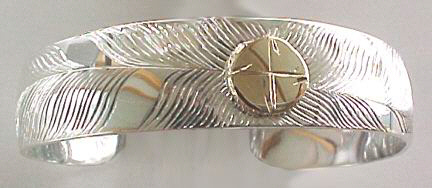 Medicine Wheel Bracelets - MdBA1 - Silver Medicine Wheel with 14k Disc full feather
