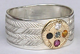 Gem Stones Medicine Wheel Rings - MdSt31a - Wide band with Onyx, Diamond, Citrine and Ruby - gold on silver