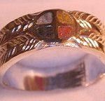 Wedding Rings - MdrStCh2 Appliquéd Medicine Wheel with inlaid Opals -with Onyx, Opal, Coral, Jasper