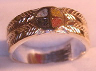 Inlay-Medicine Wheel Rings - MdrStCh2 Appliquéd Medicine Wheel with inlaid Opals -with Onyx, Opal, Coral, Jasper