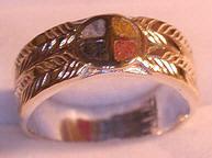 Inlay-Medicine Wheel Rings - MdrStCh2 Appliquéd Medicine Wheel with inlaid Opals -with Onyx, Opal, Coral, Jasper