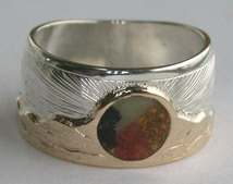 Inlay-Medicine Wheel Rings - MdrStCh10- Mountains - Sun burst, wheel, Onyx, Mamoth tooth, Coral and Jasper