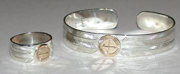 Medicine Wheel Bracelets - MdBA5 - Medicine Wheel Bracelet and Ring 4 feathers