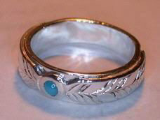 Wedding Rings - MdSt9 - thin band medicine wheel with turquoise