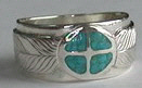 Inlay-Medicine Wheel Rings - MdrStCh1 Silver on Silver with Turquoise Chip inlay