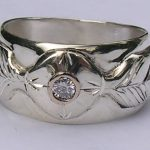Wedding Rings - MdSt36 Medicine Wheel with .10ct Diamond - white gold on gold