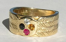 Gem Stones Medicine Wheel Rings - MdSt31c- Wide band with Onyx, White Sapphire, Citrine and Ruby - gold on gold