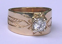 Gold Bird Feathers Stones Rings - RbfSt26 - Micmac Star in 14k gold with half carat diamond and feathers